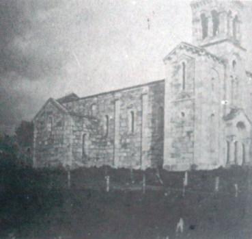 Iglesia de Lalín, en construcción, a principios del siglo XX